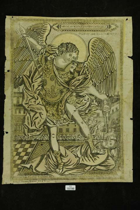 Chalcography depicting Archangel Michael